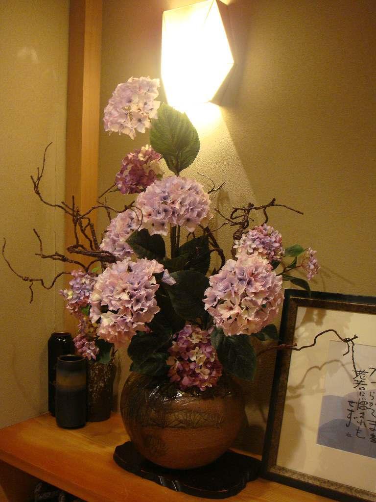 夏の装飾、紫陽花の装飾ディスプレイ