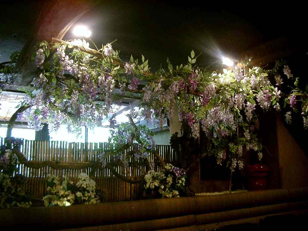春の装飾、藤や紫陽花の装飾ディスプレイ